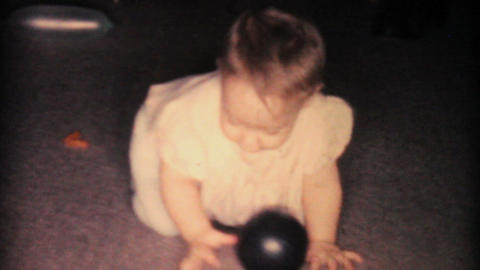 Baby Girl Playing With Brothers 1962 Vintage 8mm Stock Video Footage