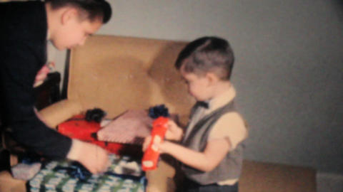 Boy Gets Christmas Presents 1962 Vintage 8mm film Footage
