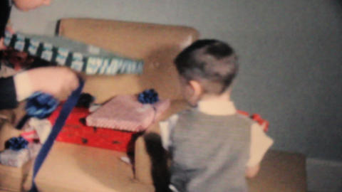 Boy Gets Christmas Presents 1962 Vintage 8mm film Stock Video Footage