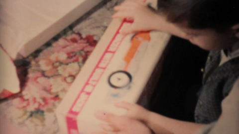 Boy Gets Remote Control Car For Christmas 1962 Stock Video Footage