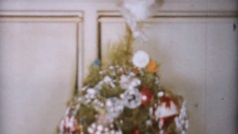 Lovely Decorated Christmas Tree 1962 Vintage 8mm Stock Video Footage