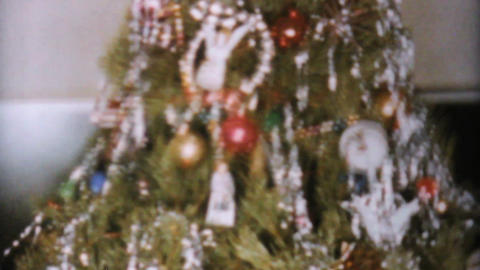 Lovely Decorated Christmas Tree 1962 Vintage 8mm Footage