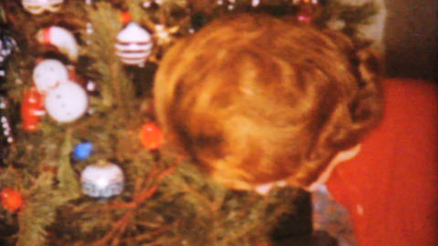 Woman Arranging Christmas Presents 1962 Vintage Stock Video Footage
