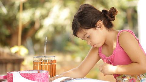 Children Painting watercolor activities finger pai Stock Video Footage