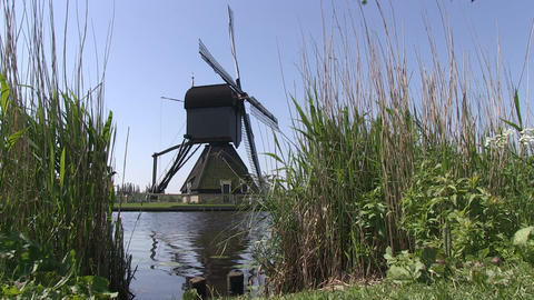 Old Dutch windmill at Kinderdijk Stock Video Footage