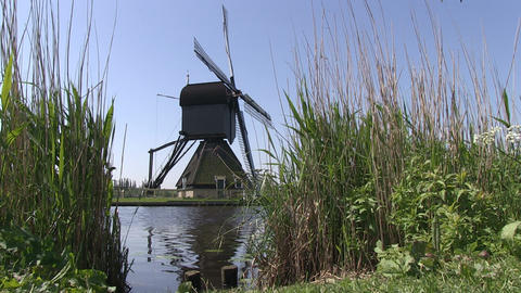 Old Dutch windmill at Kinderdijk Footage
