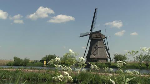 Dutch windmill at Kinderdijk Stock Video Footage
