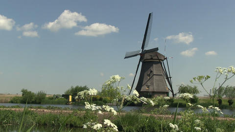 Dutch windmill at Kinderdijk Stock Video Footage