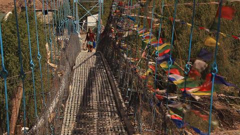 Bridge Multicolored flags Stock Video Footage