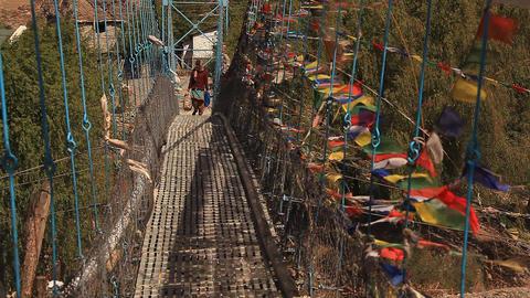 Bridge Multicolored flags Footage