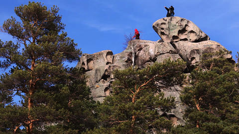 People on the rock top Stock Video Footage