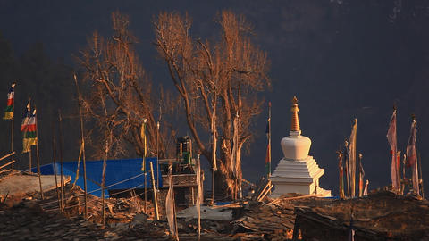 Flags Stupa Stock Video Footage