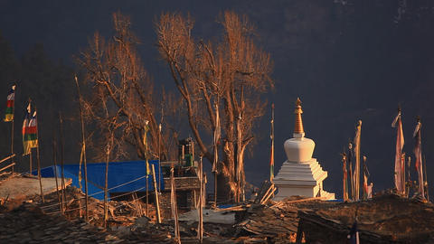 Flags Stupa Stock Video Footage