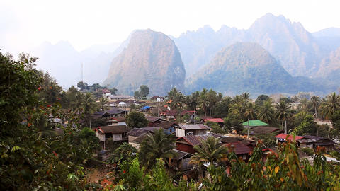 Landscape Vang Vieng Stock Video Footage