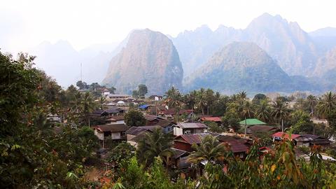 Landscape Vang Vieng Stock Video Footage