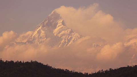 Machapuchare peak (6997 m) at sunrise Stock Video Footage