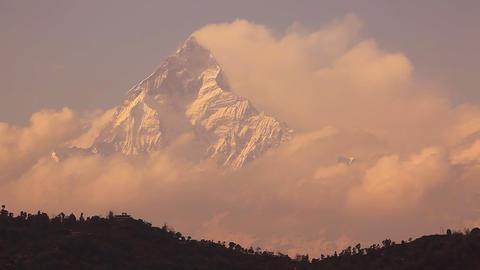 Machapuchare peak (6997 m) at sunrise Stock Video Footage