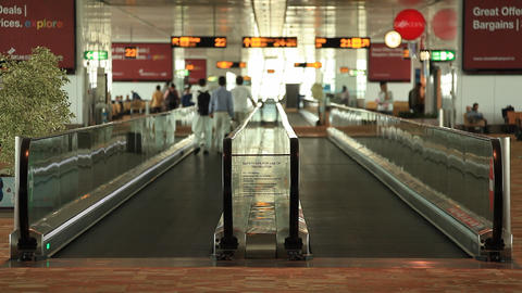 Passengers Use The Escalator In The Airport Buildi stock footage