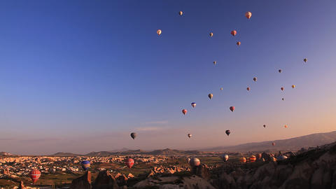 Multicolored balloons rise in the sky Stock Video Footage