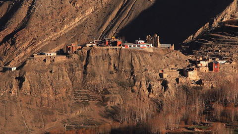 Ancient structures in Upper Mustang Stock Video Footage