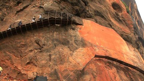 Scaffolds for walking fixed on steep rocks in Sigi Footage