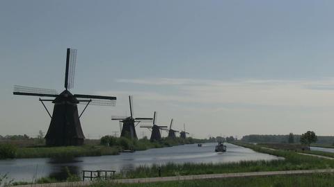 Dutch windmills in Holland Stock Video Footage