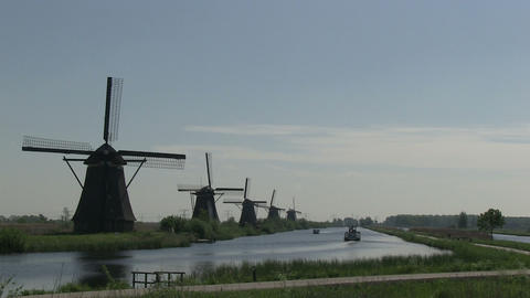 Dutch windmills in Holland Footage