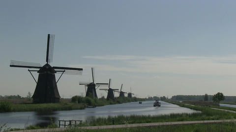 Dutch windmills in Holland Stock Video Footage