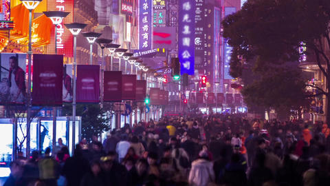 Close up of anonymous crowds in Nanjing road Stock Video Footage