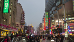 Day to Night shot in Nanjing road in Shanghai Stock Video Footage