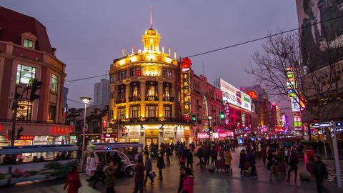Day to night crowds traffic in Nanjing road Stock Video Footage