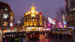 Day to night crowds traffic in Nanjing road Footage