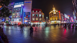Fish eye crowds traffic in Nanjing road at night Stock Video Footage