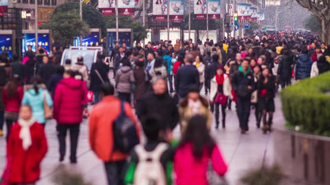 Anonymous crowds in Nanjing road in Shanghai Stock Video Footage