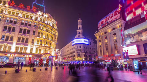 Wide shot crowds in Nanjing road in Shanghai Stock Video Footage