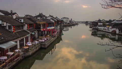 Clouds reflection at Zhujiajiaozhen, Shanghai Stock Video Footage