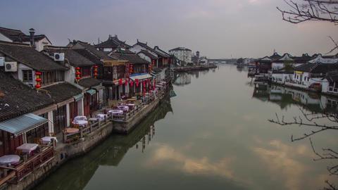 Clouds reflection at Zhujiajiaozhen, Shanghai Stock Video Footage