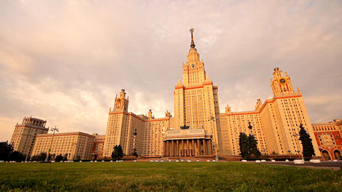 morning Moscow State University grass slider Stock Video Footage
