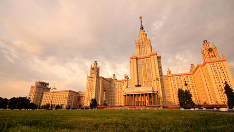 morning Moscow State University fountain slider Stock Video Footage