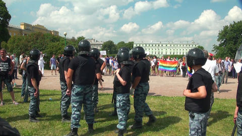 The police guarding the homosexual and lesbian Stock Video Footage