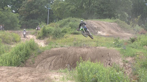 Motocross jump rider Stock Video Footage