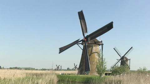 Dutch Windmills stock footage