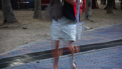 Man Walking Lower Body With Motion Trails stock footage