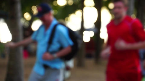 People Walking in a park de-focused right to left Footage