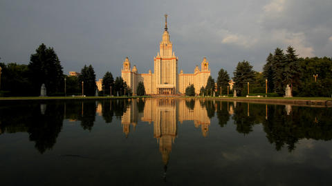 morning Moscow State University fountain time laps Stock Video Footage