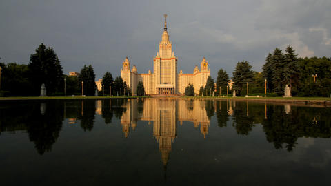 morning Moscow State University fountain time laps Footage