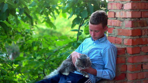 Boy With Cat 1 stock footage
