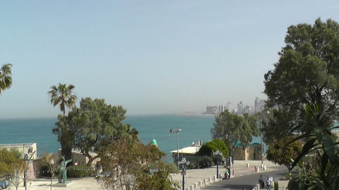 Sea coast and the view of the Tel Aviv Stock Video Footage