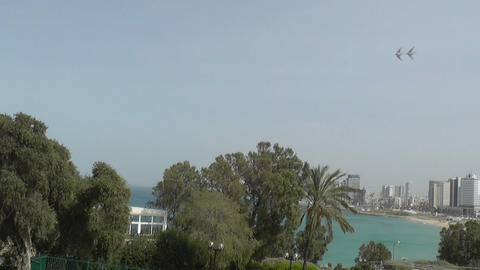 View of Tel-Aviv from Jaffa between trees Stock Video Footage