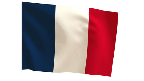 French flag_010 Stock Video Footage